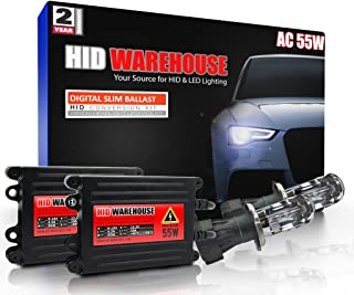 HID-Warehouse 55W AC Xenon HID Lights with Premium Slim AC Ballast - Bi-Xenon H4 / 9003 5000K - 5K Bright White - 2 Year Warranty