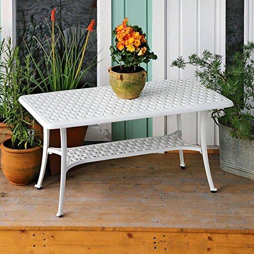 Lazy Susan – CLAIRE Rechteckiger Garten Beistelltisch mit 1 ROSE Gartenbank – Gartenmöbel Set aus Metall, Weiß - 2