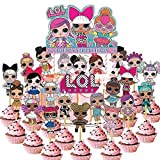 24 PCS LOL Cupcake Toppers,LOL Happy Birthday Party Supplies cake...