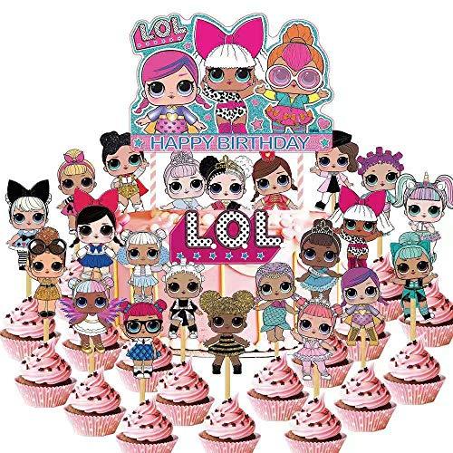 24 PCS LOL Cupcake Toppers,LOL Happy Birthday Party Supplies cake Topper for Party Supplies
