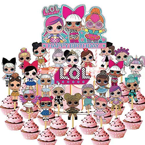 24 PCS LOL Cupcake Toppers,LOL Happy Birthday Party Supplies cake Topper for Party Supplies