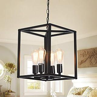 Qcyuui 4-Light Lantern Chandelier Light Fixture, Industrial Farmhouse Lantern Pendant Light Square Cage, Black Lantern Cha...