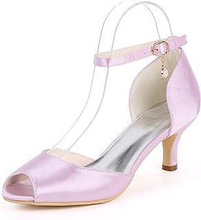 HLONGG Pompes Chaussures De Mariage des Femmes, des Sandales Peep Toe À Talons,Rose,US7.5/EU38/UK5.5