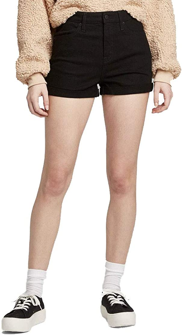 Wild Fable Women's High Rise Rolled Cuff Jeans Shorts (Black)