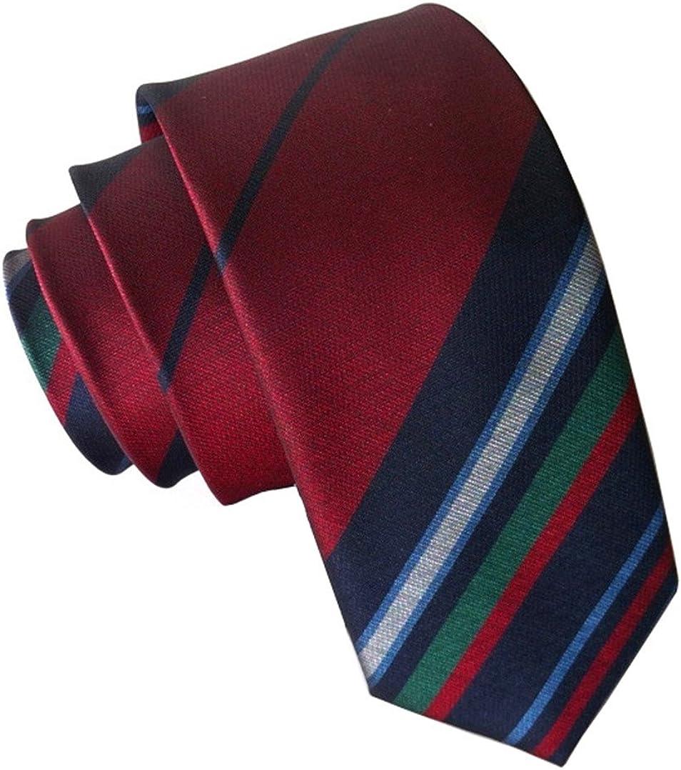 Secdtie Men's Skinny Striped Blue Brown Jacquard Woven Silk Tie