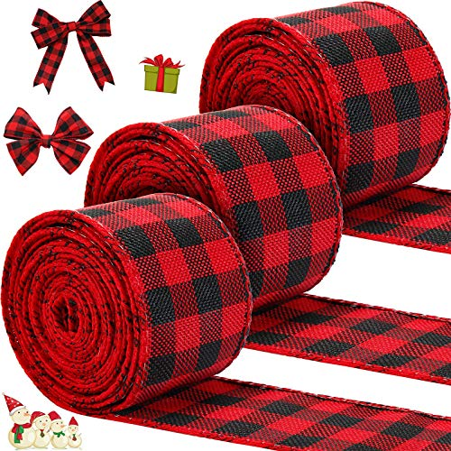 3 Rolls Christmas Wired Edge Ribbons 30 Yards x 2 Inches Wired Plaid Ribbon for Christmas DIY Wrapping Wedding Party Bow Craft Making (Red and Black)