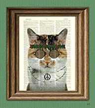 Windsong the Flower Child Hippie Cat With John Lennon Glasses Illustration Beautifully Upcycled Dictionary Page Book Art Print