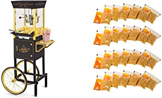 Nostalgia CCP510BK Vintage Popcorn 8-Ounce Cart with 24 4-Ounce Premium Popcorn, Oil & Seasonings Packs