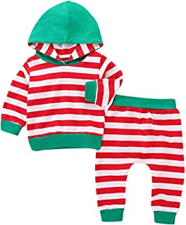 KONIGHT Newborn Infant Baby Boys Girls Christmas Hoodie Outfit Long Sleeve Strip Sweatshirt Tops+Pants Fall Winter Clothes Set