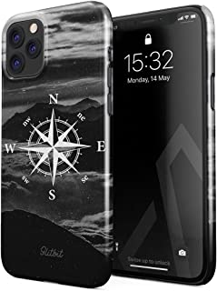 Glitbit Compatible with iPhone 11 Pro Case Compass Wanderlust Travel Explore Lets Go Trip Landscape Nature Mountains Tumblr Thin Design Durable Hard Shell Plastic Protective Case Cover