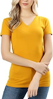 ToBeInStyle Women's Short Sleeve V-Neck Basic T-Shirt