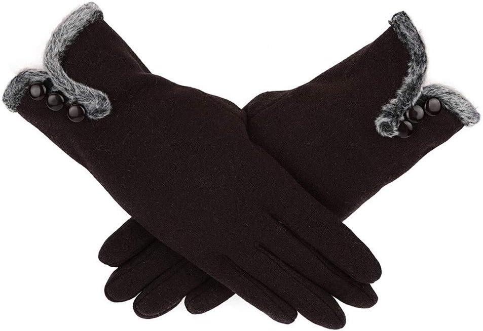 EODNSOFN Fashion Winter Women Gloves Windproof Waterproof Internal Plush Warm Lady Mittens Touch Screen Skin-friendly Soft Female Gloves (Color : D)