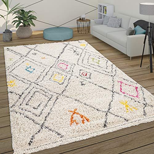 Paco Home Tapis Poils Longs Shaggy Salon Scandinave Motif Diamant Beige Jaune Rouge, Dimension:200x290 cm