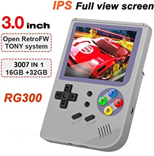 BAORUITENG 2019 Upgraded Opening Linux Tony System Handheld Game Console , Retro Game Console Built in 3007 Classic Games, Portable Video Game Console of 3 Inch IPS Full View Screen Screen (Gray)