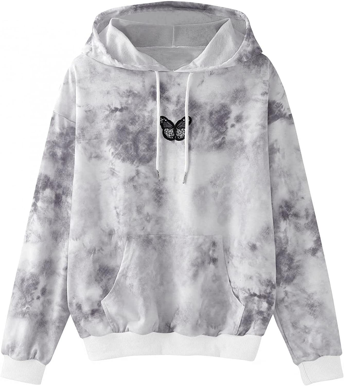 Jaqqra Hoodies for Women Pullover Long Sleeve Tie Dye Print Hooded Sweatshirts Teen Girls Casual Loose Tops Shirts