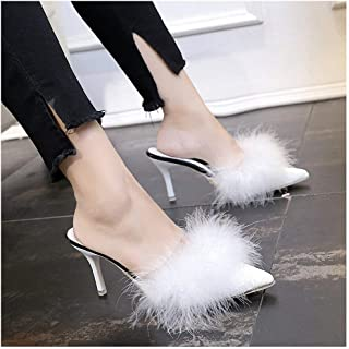 Womens Slippers Sexy Pointed Toe Slides Real Fur Slippers Closed Toe Thin High Heels Loafers Ostrich Feather Sandals Women Outside Shoes