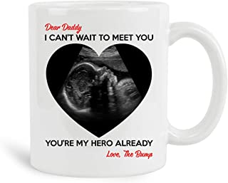 Dear Daddy I Can't Wait To Meet You You're My Hero Already Mug, 11 oz Ceramic White Coffee Mugs, Dad-To-Be Presents, Daddy...