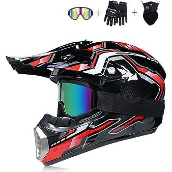 L Mangen Casque de Moto Motocross Cross int/égral V/élo Off-Road VTT Noir Mat