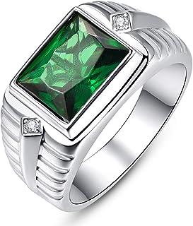 BONLAVIE Men's Wedding Engagement Rings Emerald Cut 8x10mm Created Black Onyx Green Emerald White Cubic Zirconia 925 Sterl...