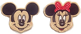 Mickey Mouse Embroidered Iron/sew on Patch Cloth Applique Set of 2 (Mickey Mouse)