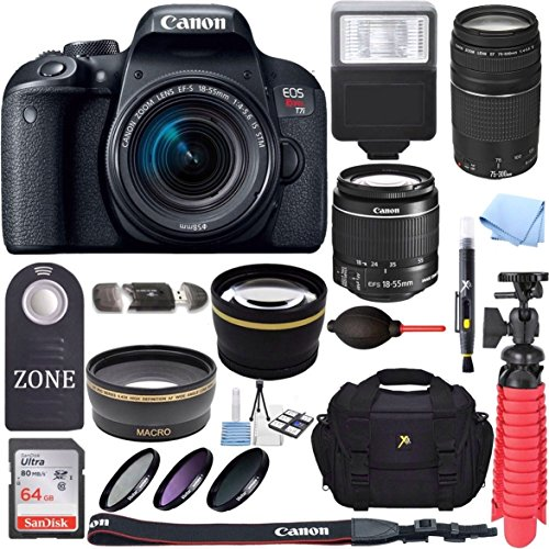 Canon EOS Rebel T7i DSLR Camera + 18-55mm is STM & 75-300mm III Lens Kit + Accessory Bundle 64GB SDXC Memory + DSLR Photo Bag + Wide Angle Lens + 2X Telephoto Lens +Flash+Remote+Tripod