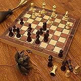 XIUWOUG Juego de ajedrez de Madera,magnético Piezas de ajedrez Hechas a Mano Tablero de ajedrez,Plegable,Espacio de Almacenamiento Interior,Apto para viaes,Fondo de Fieltro,Marrón,44 * 44cm