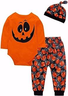 Toddler Baby Boy/Girl Halloween Clothes Pumpkin Long Sleeve Bodysuit Romper + Long Pants Trouser + Hat Outfit