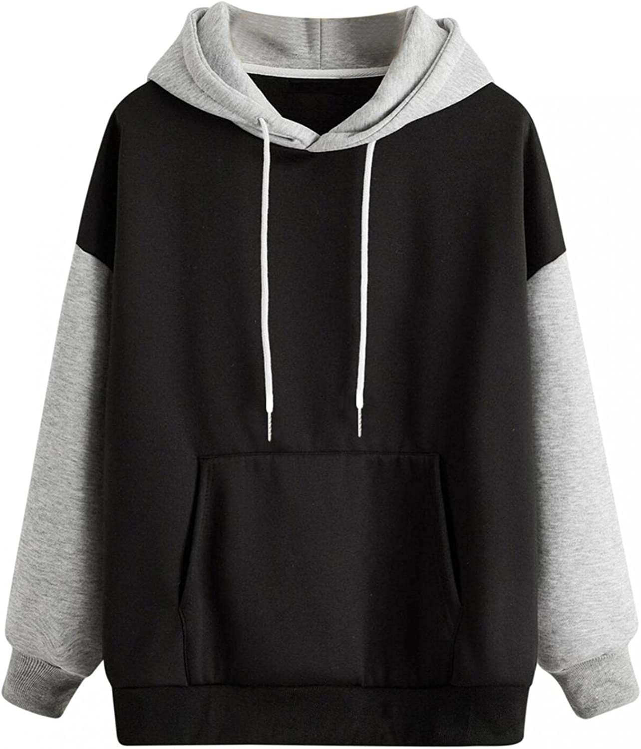 MASZONE Solid Color Hoodies for Teens Girls Sun and Moon Print Drawstring Pullover Sweatshirts Long Sleeves Casual Tops