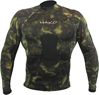 Wetsuit Shirt Spearfishing Green Camouflage Lycra Long Sleeve - 1.5mm