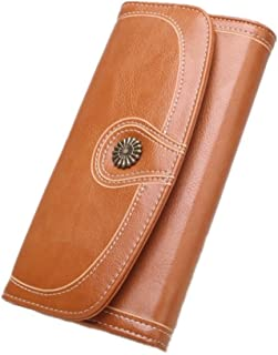 Ladies Vintage Long Wallets Leather Large Luxury Wax Smooth Surface Large Capacity Zipper Travel Purse Wallet Card Holder Wallet (Color : Brown, Size : One Size)