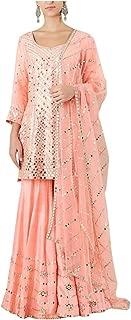 Peach Indian Ethnic Designer Gotta Patti Work Mirror Work Handwork Silk Sharara Suit Salwar Kameez Flairy Bollywood Suit 8396 …
