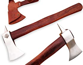 TNZ-614 High Carbon Axe 18 Long Hunting Camping Axe High Carbon Hatchet Viking Long Bearded Axe Leather Cover TNZ Hand Made High Carbon Knives