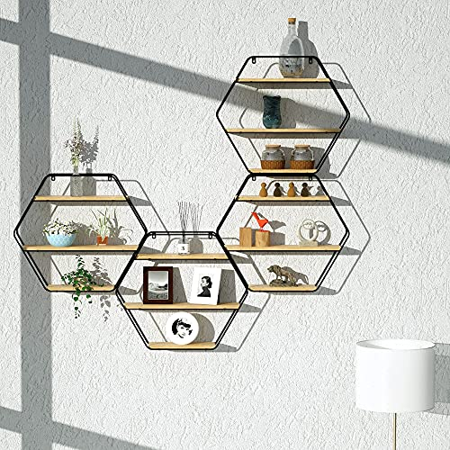 TFer Floating Shelves Cat Wall Mounted Hanging Shelf Hexagon Rustic Farmhouse Shelves for Wall Decor