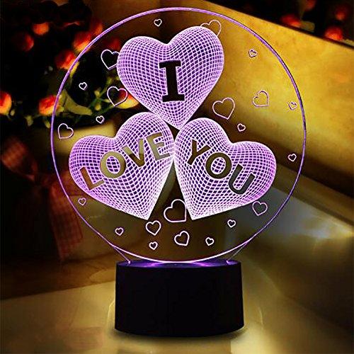 Corazón de I Love You en 3d óptica LED lámpara de ilusión, YKL mundo 7cambio de color táctil interruptor Art Escultura luces escritorio mesa luz nocturna regalo.