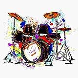 EMC Graphics Drum Set Drummer Drumming Musician Vinyl Waterproof Sticker Decal Car Laptop Wall Window Bumper Sticker 5'