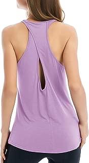 Fihapyli Women's Cross Back Yoga Shirt Backless Workout Tops for Womens Racerback Tank Tops Open Back Running Muscle Tanks