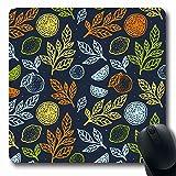 Luancrop Alfombrillas de ratón Sano Verde Botánico Fresco Limón Cítrico Abstracto Naturaleza Vegetariano Color Naranja Postre Dibujo Antideslizante Juego Alfombrilla para ratón Goma Oblong Mat