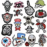 16 Pcs Rock Punk Band Patch Set Punk Iron-on Patches Assorted Punk Embroidered Iron-on Patches...