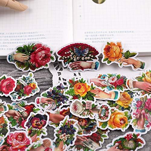 BLOUR 25PCS Vintage Rose Hand Papier Aufkleber Basteln und Scrapbooking Aufkleber Buch Dekorative Aufkleber DIY Briefpapier