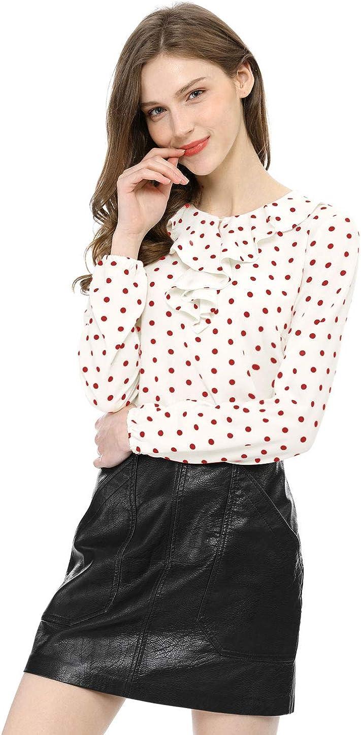Allegra K Blusa T/única Camisa Lunares Vintage Manga Larga Cuello De Volantes para Mujer