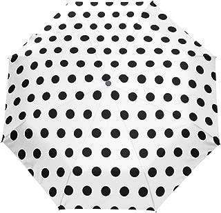 Black And White Polka Dot Umbrella Auto Open Close Windproof Compact