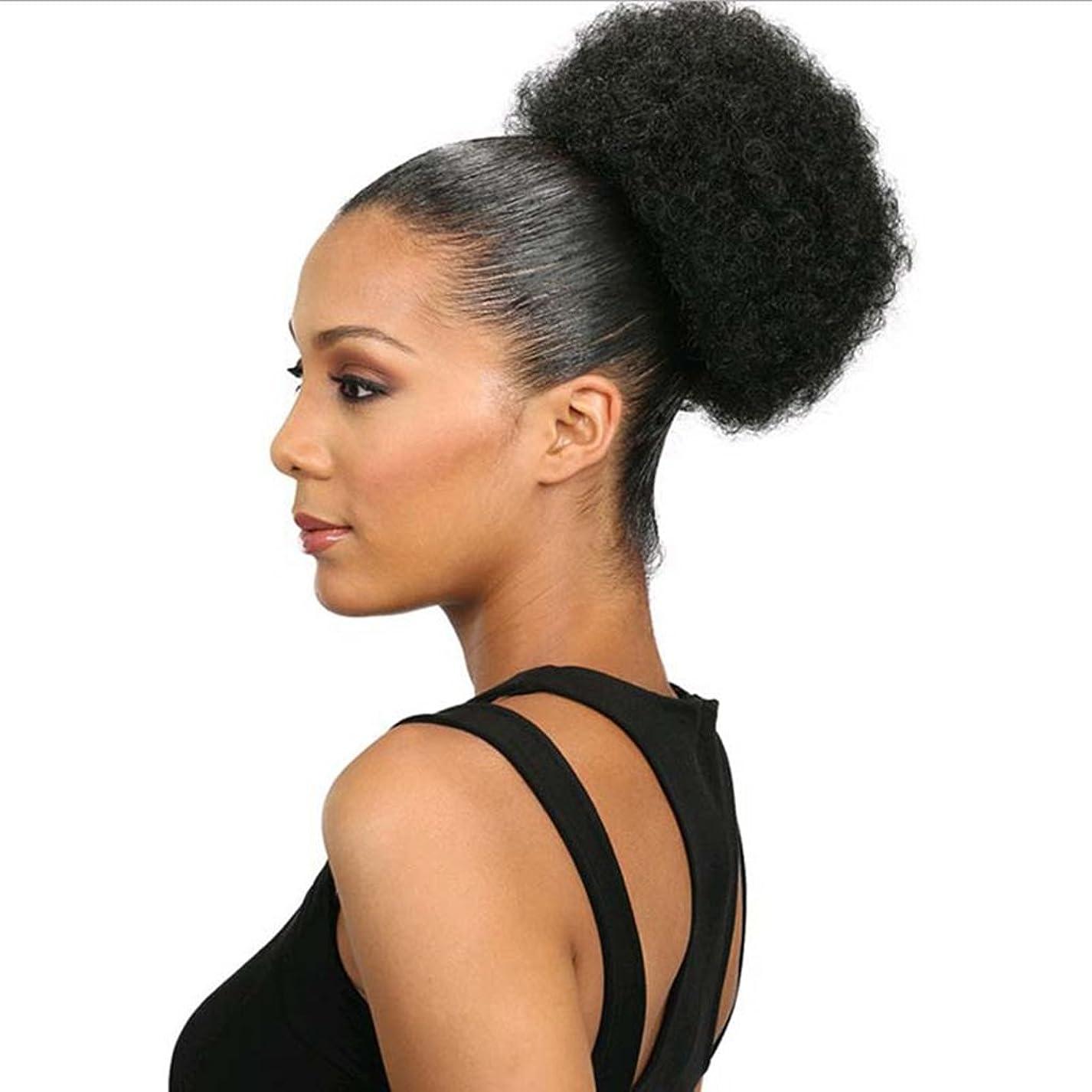 部屋を掃除する請うあまりにもKoloeplf 爆発ヘッドふわふわ毛髪の拡張子カールヘアの毛の拡張子キャタピラーのかつらのサイズ選択ウィッグの部分 (Color : Natural blcak (S))