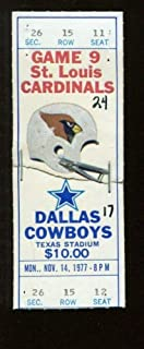 1977 St. Louis Cardinals v Dallas Cowboys Ticket 11/14 Texas Stadium 52107