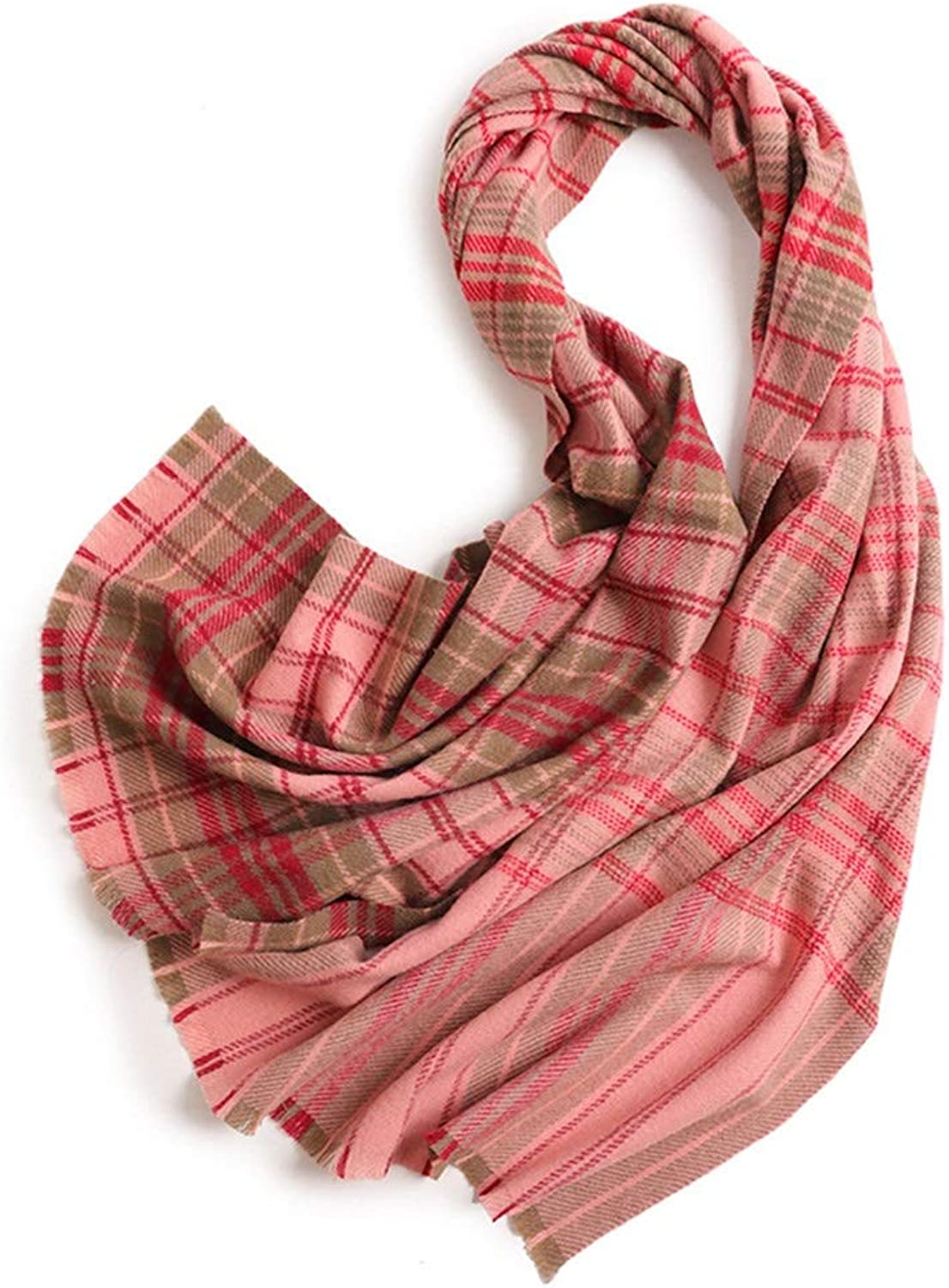 Ladies Scarf Autumn and Winter Wool Plaid Warm Shawl Warm Soft MultiFunction Collar Scarf Fashion (color   Green, Size   One Size)