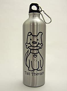 Tail Therapy Dog 24-Ounce Aluminum Water Bottle -- Carabiner Clip included, screw top, great for hiking, camping, on the go, anywhere