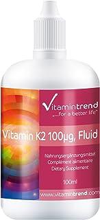 Vitamina K2 Líquida – 100μg – Menaquinona MK7 – Aceite MCT 100ml – Tratamiento para 1 año