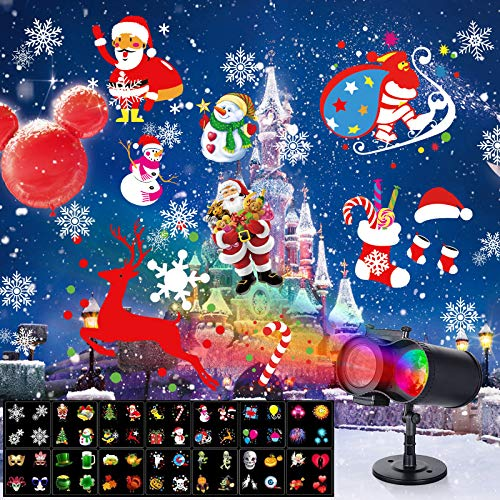 Christmas LED Projector Lights Ocean Wave with Remote Control 16 Slides Waterproof Outdoor Water Wave & Rotating Double Projection Light with 10Wave Colors for Halloween Birthday Xmas