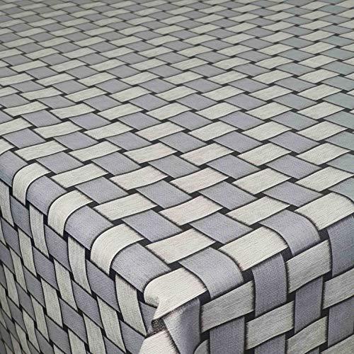DecoHomeTextil - Tovaglia cerata in rattan grigio, rettangolare, 130 x 220 cm, lavabile, piegata
