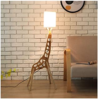 WANGERSHUAI Giraffe Floor Lamp Creative Cartoon Animal Shape Simple Living Room Study Bedroom Assembled Wooden Vertical Lamp [Energy Class A ++] (Color: Black) Color Optional (Color : White)