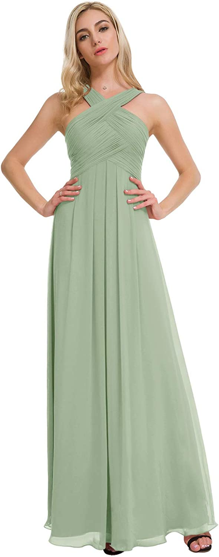ALICEPUB Crisscross Raleigh Mall Neck Bridesmaid Dress Formal Dr Long Chiffon Latest item